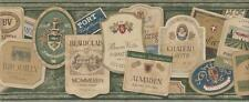 Wallpaper Border Designer Vintage Wine Labels on Green