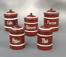 Vintage French Enamelware Brick Red and White Enamel Canister Set, 5 pcs