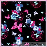 BonEful Fabric FQ Flannel DISNEY Minnie Mouse Butterfly Hippie Pink B&W Dot GIRL