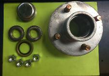"(2) Boat or Utility Trailer Galvanized Hub Kit  4 Bolt Lug 1"" bearings"