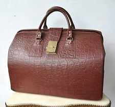 Vintage Antique Large Tan Croc Leather Doctors/Tool Bag Briefcase Superb Rare