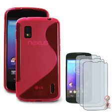 Google/LG Nexus4: S Series TPU Case (Hotpink)+3 x Free Matte Screen Protectors