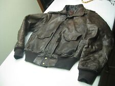 VINTAGE BROWN Leather Bomber FLIGHT AVIATOR MILITARY STYLE Jacket size 42