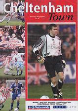 Football Programme>CHELTENHAM TOWN v HULL CITY Apr 2002