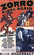 Zorro rides again John Carroll movie poster