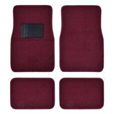 Car Floor Mats for Auto 4pc Carpet Semi Custom Fit Heavy Duty Heel Pad Bergundy