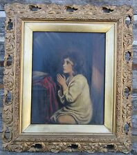 ANTIQUE VICTORIAN OIL PAINTING OIL ON CANVAS YOUNG GIRL AT PRAYER