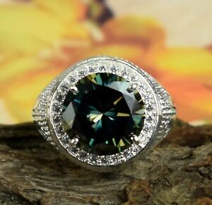 9.42 Ct Round Green Diamond Solitaire Halo Men's Ring AAA Quality, Great Luster