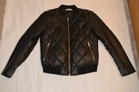 Sandro Black Quilted Zip Through Leather Bomber Jacket Coat Womens Size 2 UK8 10