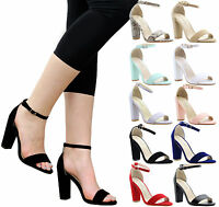 LADIES WOMEN HIGH BLOCK HEEL ANKLE STRAP STRAPPY PEEP TOE SANDALS SHOES SIZE 3-8