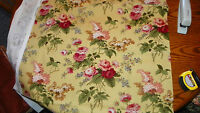 Yellow Burgundy Flower Print Upholstery Fabric Remnant  F33