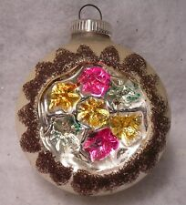 INDENT MERCURY GLASS WEST GERMANY CHRISTMAS ORNAMENT MICA GLITTER