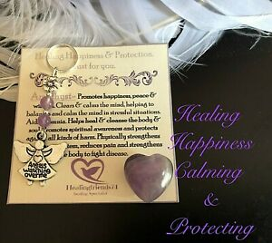 AMETHYST PUFFY HEART CRYSTAL Healing Stress , Happiness & Protecting GIFT SET .