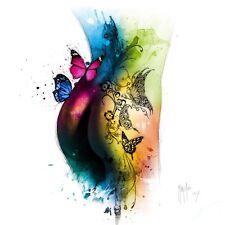 PATRICE murciano: Mariposa TATOO Imagen TERMINADA 50x50 Mural de colores moderno