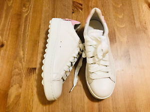 COACH LOW TOP LACE UP PLATFORM WHITE PINK LEATHER SNEAKER SHOES C101 NWOB SZ 8.5