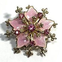 VINTAGE Pink Guilloche ENAMEL RHINESTONE Flower Pin BROOCH Gold Tone Fleur De Li