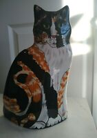 "Cats By Nina Lyman Cat Vase 11.5 "" Calico Tabby Green Eyes Ceramic"