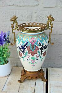 Antique 19thc ceramic pottery  Vase enamel decor gothic dragon satyr heads