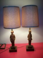 Vintage Pair 1971 Resin Based Dunning Lamps  Girl & Boy w.  Shades