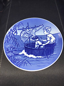 Bing Grondahl The Little Viking Boy with Dog Young Adventurers Plate Blue SMA