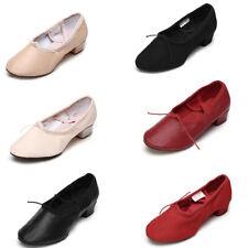 Brand new women gril teacher ballroom ballet leather canvas practice dance shoes