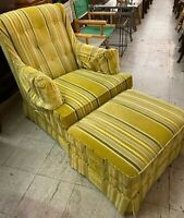 Henredon 1970's Button Back Occasional Chair with Matching Ottoman