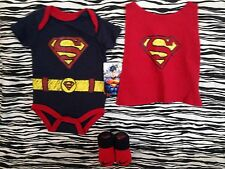 NEW RED BOYS NIKE BABY BOOTIES 0-6M & DC COMICS SUPERMAN BODYSUIT 3-6M AUTHENTIC