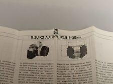 G.Zuiko Auto-W 1:2,8 f=35mm Olympus booklet multilingual