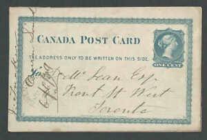 1879 Canada 1c Blue Postal Card
