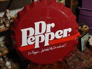 """Old Vintage Dr. Pepper Soda Cola Bottle Cap Advertising Tin Metal Sign Large 27"""""""