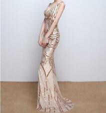 Luxury Gold Sequins Sparkly Mermaid Evening Dress V Neck Bling Prom party Dress