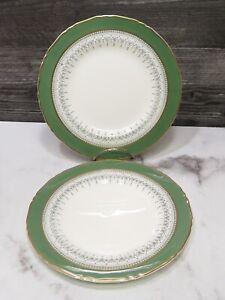 """Set of 2  Royal Worcester Regency Green 8"""" Salad Plates Gold Trim"""