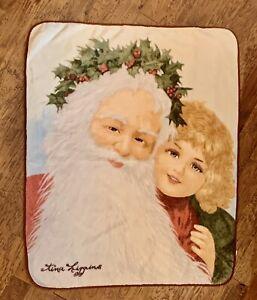 Tina Higgins Christmas Plush Throw Blanket Vintage Santa Girl Holly Crown 50x63