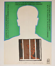 1971 Cuban Original Political Poster.Anti-Colonialism Apartheid.ZIMBABWE.African