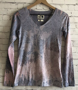 THE NORTH FACE || Light Purple/Pink Graphic Print Long Sleeve Tee Shirt || Small