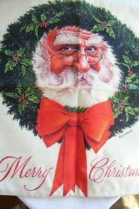 """NEW! Merry Christmas,Santa Claus,.Wreath,Red Bow,Cover.17"""" square.w.Zipper.Linen"""