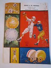1956 TEXAS VS W. VIRGINIA FOOTBALL - OFFICIAL  GAME PROGRAM - TUB BP