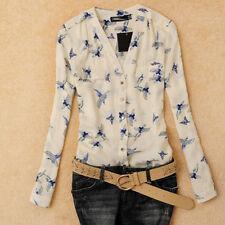 UK Women's Blouse Tops Fashion Bird Print Shirt Long Sleeve Casual Slim Shirts