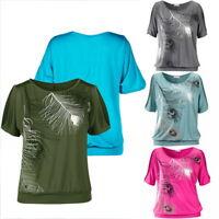 Femmes T-shirt à Manches Courtes Imprimé Plumes Blouse Col Rond Hauts Tops