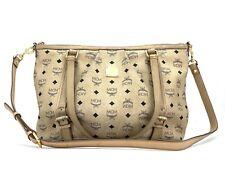 MCM Visetos Shopper Tasche Schultertasche Elfenbein Medium Umhängetasche Bag