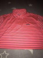 Under Armour Playoff Golf Jordan Blitz Red Blue Stripped Polo Shirt XL