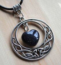 Antique Silver Pl Celtic Pendant Blue Goldstone Heart Necklace Ladies GIft Reiki