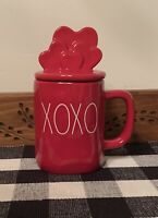 "New RAE DUNN Valentines Day LL ""XOXO"" Red Mug With Hearts Topper By Magenta"