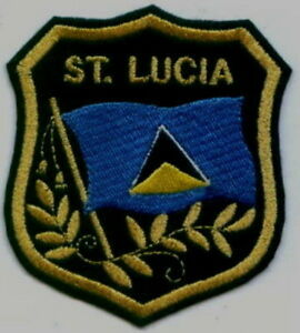 """ST. LUCIA Flag in shield Embroidered Patches 3.25""""x2.75"""" iron-on"""