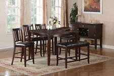 Contemporary Brown 6P Dining Set Counter Height Table Chairs Bench Dining Room