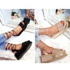 Womens Ladies Flat Wedge Espadrille Tie up Sandals Sparkly Platform Summer Shoes