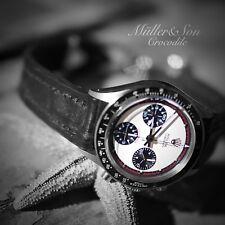Müller&Son 22mm Black Genuine Crocodile Leather Watch Strap Deployment Buckle