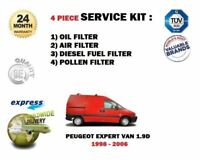 FOR PEUGEOT EXPERT 1.9D VAN 1998-2006 OIL AIR FUEL POLLEN 4 FILTER SERVICE KIT