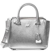 new Michael Kors nolita Mini messenger metallic silver leather silver tone bag