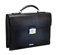 ST Dupont Atelier Collection Black Leather Single One Gusset Briefcase ST191240